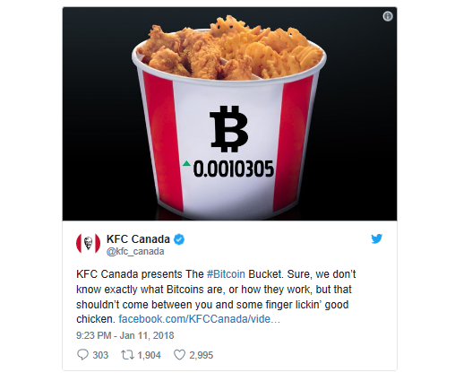 KFC post facebook Bitcoin