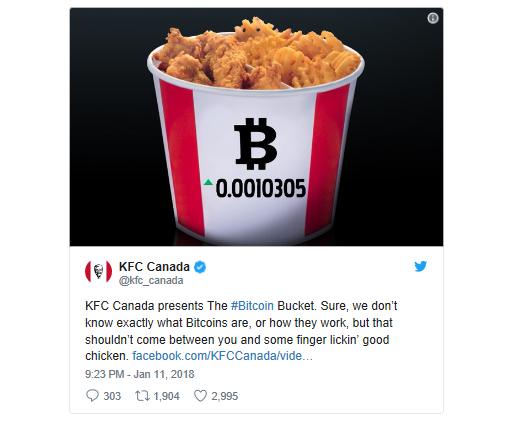 KFC post facebook Bitcoin